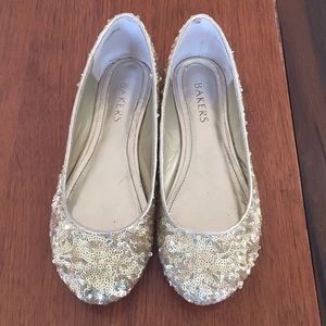 Bakers Gold Sequin Mary Jane Flats